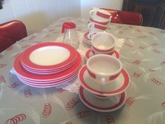 22 Piece Cups And Saucers Pyrex Red Restaurant 50s by AspenRidge