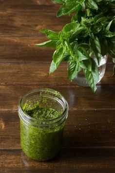 It& our classic pesto recipe and how to store pesto and more questions are answered right here! Plus recipes that use pesto and how to keep it green. Basil Pesto Sauce, Basil Pesto Recipes, Pesto Pasta, Pesto Shrimp, Pesto Recipe Giada, Creamy Pesto, How To Make Pesto, Homemade Pesto, Vegetarian