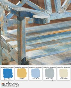 Garden bench for courtyard. Great color combo of Annie Sloane chalk paint. #santafehouse