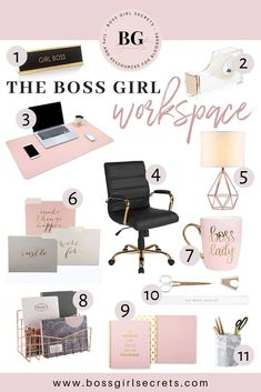 Who doesn't dream of having a nice rose gold office decor?- Who doesn't dream of having a nice rose gold office decor? Check out my favorite rose gold office items and style your workspace! Work Desk Decor, Gold Office Decor, Gold Room Decor, Study Room Decor, Gold Rooms, Cute Room Decor, Gold Office Accessories, Gold Office Supplies, Work Office Decorations