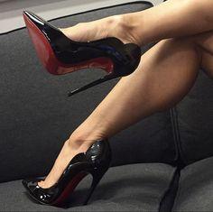 Black Stiletto Heels, Sexy Heels, High Heels, Red Bottoms, Christian Louboutin, Footwear, Pumps, Shoes, Instagram