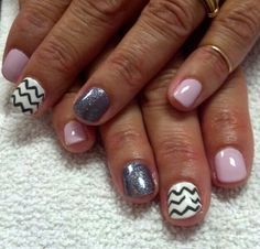 Shellac Cake Pop on thumb, pointer, pinky and Cream Puff on middle with Chevron design in Asphalt. OPI color gel On Her Majest's Secret Service on ring finger.