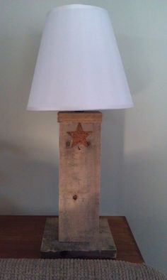 Lamp made from slats of a pallet.