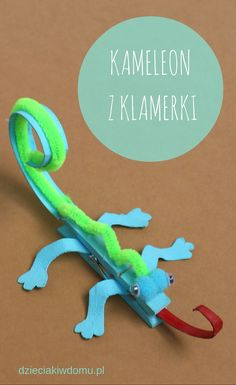45 Cute Fun Clothespin Crafts For Kids - This Tiny Blue House - DIY Bastelidee für Kinder mit Holzklammern: Buntes Chamäleon You are in the right place about diy - Animal Crafts For Kids, Crafts For Kids To Make, Easy Crafts, Arts And Crafts For Children, Camping Crafts For Kids, Cute Kids Crafts, Kids Diy, Chameleon Craft, Chameleon Pet