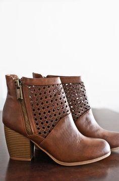 dbff6aacf52d49 Emerson Ankle Booties-Cognac Nail Glue