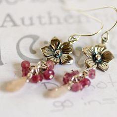 Pink Sapphire Flower Earrings. $35.00, via Etsy.