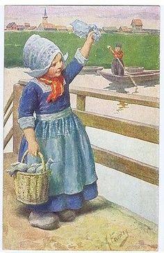FEIERTAG POSTCARD 1920s - GIRL CARRYING FISHES - B.K.W.I. N- 158-4