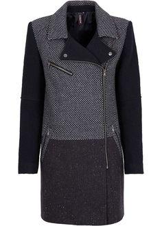 Damen Wollmantel Wolljacke Mantel blau grau Neu Gr.32