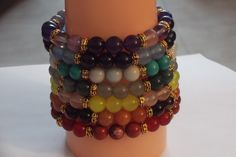 Complete Set of 8 Chakra Bracelets ~7 Chakra Gemstone Healing Stretch Bracelets,Yoga Bracelet Set by HealingAuras on Etsy
