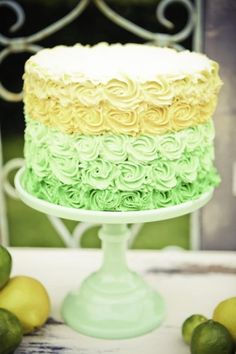 Gorgeous Lemon Lime Birthday Cake I love the way the icing is decorated! Pretty Cakes, Beautiful Cakes, Amazing Cakes, Petal Cake, Rosette Cake, Cake Cookies, Cupcake Cakes, Pastel Cakes, Lime Cake