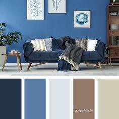 16 Ideas For Living Room Colors Burgundy Gray Living Room Color Schemes, Living Room Colors, Living Room Decor, Dark Interiors, Colorful Interiors, Blue Colour Palette, Color Palettes, Design Apartment, House Colors