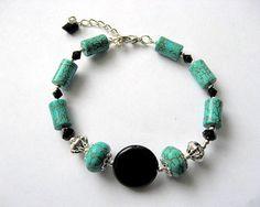 Bratara turcoaz si onix, bratara femei pietre semipretioase - idei cadouri femei Turquoise Bracelet, Bracelets, Jewelry, Bead, Jewlery, Jewerly, Schmuck, Jewels, Jewelery