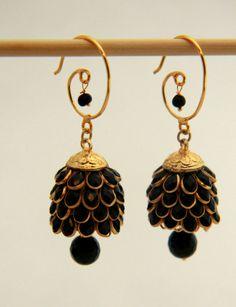 Dangler Jhumka Earrings, Ethnic Indian Earrings,  Black and gold elegance, Gift for her