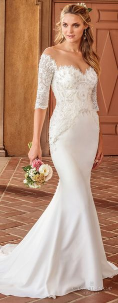 casablanca spring 2018 half sleeves illusion bateau sweetheart neckline heavily embellished bodice elegant fit and flare wedding dress sheer button back sweep train (imogen) mv -- The Spring 2018 Casablanca Bridal Collection is All Kinds of Gorgeous