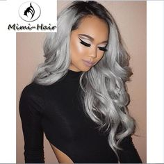 13 Grey Hair Color Ideas to Try Wanna go grey but don't know which hairstyle you can chose? Then check out these 13 awesome hair color ideas & get inspired! Grey Hair Wig, Silver Grey Hair, Ombre Hair, Dark Hair, Black Silver, Brown Hair, Pelo Color Gris, Curly Hair Styles, Natural Hair Styles
