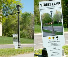 Street lamp urban plant tag by Charmichael Collective