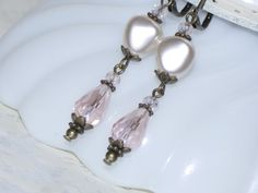 Crystal Earring  Cream Rose Pearl and Pink by judysmithdesigns, $18.00