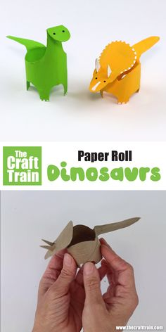 Make some paper roll dinosaurs with this printable template. There is a Diplodocus and a Triceratops to choose from – just squash, trace cut and pop back into shape to paint and decorate. A fun and easy kids craft idea! Paper Roll Crafts, Diy Paper, Fabric Crafts, Paper Roll Art, Craft With Paper, Paper Pop, Easy Crafts For Kids, Diy For Kids, Dinosaur Birthday Party