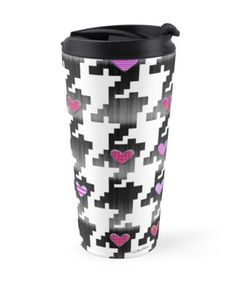 """""""Puppytooth Love"""" Travel Mugs by PolkaDotStudio 