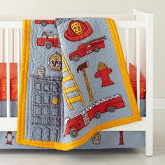 The Land of Nod | Baby Bedding: Firefighter Crib Bedding in Crib Bedding