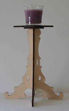 Laser Cut Wood Candlestick by ellenstarr on Etsy, $20.00
