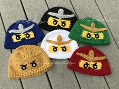 Lego Ninjago Hats! Perfect for a Halloween Costume or just to have to keep your head warm this winter! Available in sizes: 12-18 Mo (17.5-18.5 Head) 18-24 Mo (18.5-19 Head) 2-3 Y (19-20 Head) 4-6 Y (20-20.75 Head) 7-10 Y (20.25-21 Head) 11-15 Y (20.75-21.5 Head) 16 Y - Adult Sm (21.5-22.5 Head) Adult M (22.5-23.5 Head) Adult L (23.5 - 25 Head) Available Colors: - Red with Gold - Green with Gold - White with Gold - Black with Gray - Blue with Gray - Gold with Gold *If you would like a…