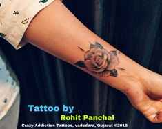 Rose tattoo by Rohit Panchal at Crazy Addiction Tattoos