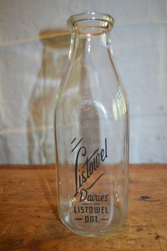 Vintage MILK BOTTLES. Priced Separately. Only One Available. Listowel Dairy still Available. Finnegan's Dairy Bottle SOLD. Great Condition. by GottaBuyVintage on Etsy https://www.etsy.com/listing/203093777/vintage-milk-bottles-priced-separately