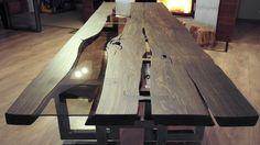 bog oak table with 1600 years mooreiche tisch,