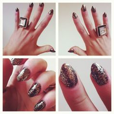 My nails! Love this edgy look I came up with. Pointy nails, black nail polish and gold  glitter nail polish on top! Very rock and definitely represents my personal style, fierce and glamorous! :)