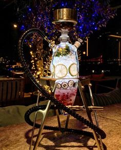 Interesting luxury hookah. All glass with the capability of adding fruit in the glass base of the hookah.