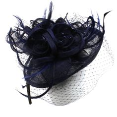 Fancy Sinamay Feathers Trio Floral Fishnet Headband Fascinator Cocktail Hat Navy