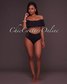 Chic Couture Online - Ohara Black Ruffle Top and Strappy High Waist Bottom Two Piece Swimsuit,(http://www.chiccoutureonline.com/ohara-black-ruffle-top-and-strappy-high-waist-bottom-two-piece-swimsuit/)
