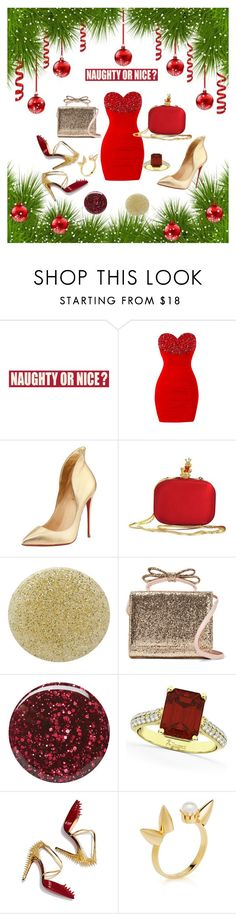 """""""Naughty or Nice??"""" by rebel-coated ❤ liked on Polyvore featuring Sixtrees, Christian Louboutin, Moschino, Burberry, RED Valentino, Allurez and Joomi Lim"""