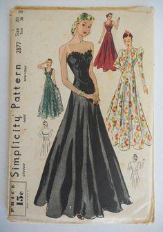 """Vintage 1930s Simplicity Pattern-Formal Gown-Wedding-Ball Gown-Evening Dress-38"""" Bust"""
