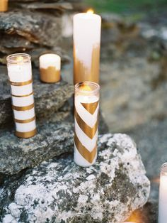 Gold Chevron, Stipped and Dipped Candles.
