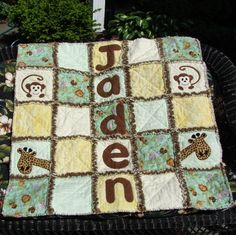 """Jungle Babies Personalized Rag Quilt CUSTOM by GrammiesQuiltz, Measures approximately 35"""" X 42""""."""