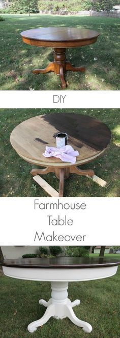 I love this DIY Farmhouse Table Makeover! Step by step instructions on how to makeover your table into a farmhouse table. I love this DIY Farmhouse Table Makeover! Step by step instructions on how to makeover your table into a farmhouse table. Refurbished Furniture, Repurposed Furniture, Furniture Makeover, Country Furniture, Farmhouse Furniture, Bedroom Furniture, Kitchen Furniture, Diy Furniture Upcycle, Antique Furniture
