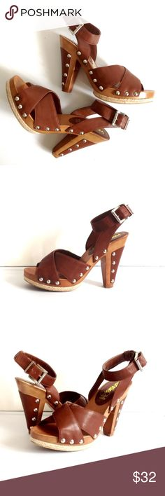 Kensie Girl | Cute Retro Style Heels Cute 70's style sandals with gold nailheads. Brown vegan leather. Very slight scuff on right shoe; see last photo. Kensie Girl Shoes