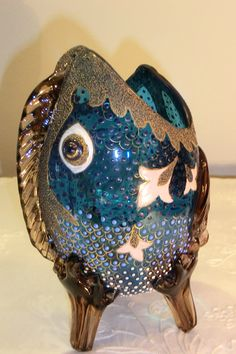 HARRACH BLUE GLASS VASE WITH ORGANIC FISH SHAPE, MULTICOLORED ENAMEL, GOLD DETAILS AND THREE FOOT.  Circa 1890 www.madforglass.com Blue Glass Vase, Glass Art, Fish Shapes, Glass Collection, Enamel, Bohemian, Organic, Hand Painted, Antiques