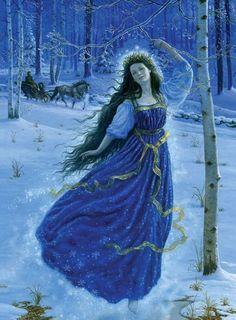 """Ruth Sanderson, ilustración para """"los príncipes de nieve"""" por Hans Christian Andersen"""