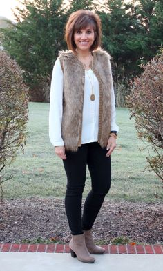 A faux fur vest is on-trend and the perfect addition to a festive look.