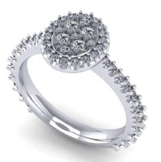 Oval cluster ring. Halo. White gold. #seneedhamjewelers #loganutah 112019B
