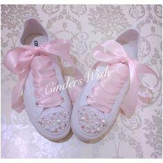 Pearl and pink crystal Converse #x2F; bridal converse #x2F; wedding