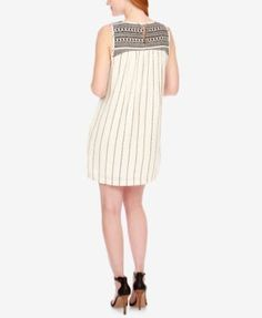 Lucky Brand Striped Embroidered Dress - White XL