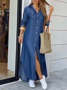Maxi Shirt Dress, Long Sleeve Shirt Dress, Maxi Dress With Sleeves, Dress Long, Maxi Shirts, Trend Fashion, Look Fashion, Fashion Outfits, Outfits Casual