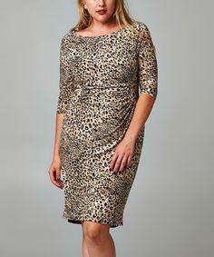 Look what I found on #zulily! Black & Khaki Leopard Sheath Dress - Plus by Christine V #zulilyfinds