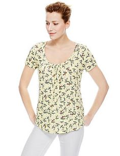 Coral Mix Ruched Neckline Dragonfly Print Top