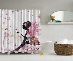 FLOWER FAIRY W BUTTERFLIES 70 Shower Curtain Digital Art Bathroom Vivid Decor In Home