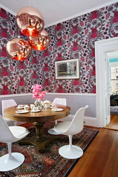 Love idea of wallpaper design in dining rooms